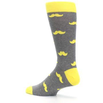 Image of Lemon Yellow Gray Mustache Groomsmen Wedding Men's Dress Socks (side-2-back-14)