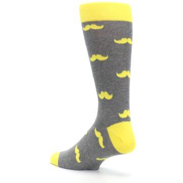 Image of Lemon Yellow Gray Mustache Groomsmen Wedding Men's Dress Socks (side-2-back-15)