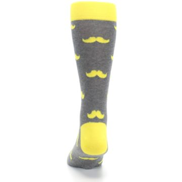 Image of Lemon Yellow Gray Mustache Groomsmen Wedding Men's Dress Socks (back-18)