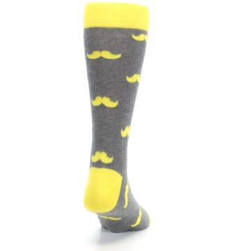 Image of Lemon Yellow Gray Mustache Groomsmen Wedding Men's Dress Socks (side-1-back-20)