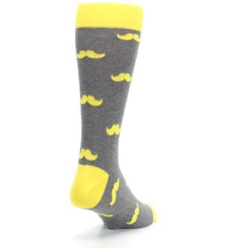 Image of Lemon Yellow Gray Mustache Groomsmen Wedding Men's Dress Socks (side-1-back-21)
