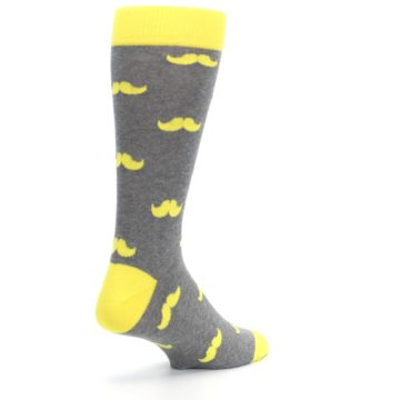 Image of Lemon Yellow Gray Mustache Groomsmen Wedding Men's Dress Socks (side-1-back-22)