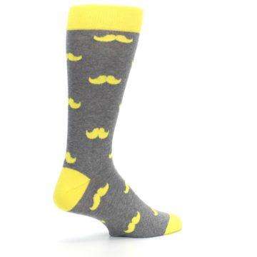 Image of Lemon Yellow Gray Mustache Groomsmen Wedding Men's Dress Socks (side-1-23)