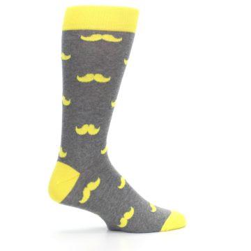 Image of Lemon Yellow Gray Mustache Groomsmen Wedding Men's Dress Socks (side-1-24)