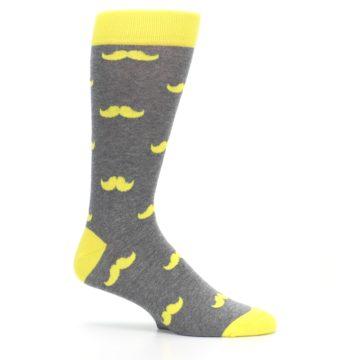 Image of Lemon Yellow Gray Mustache Groomsmen Wedding Men's Dress Socks (side-1-25)