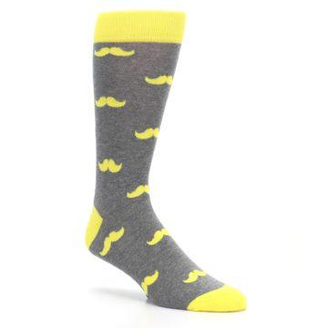 Image of Lemon Yellow Gray Mustache Groomsmen Wedding Men's Dress Socks (side-1-27)