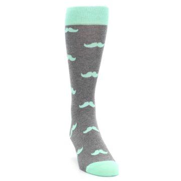 Image of Mint Gray Mustache Groomsmen Wedding Men's Dress Socks (side-1-front-03)