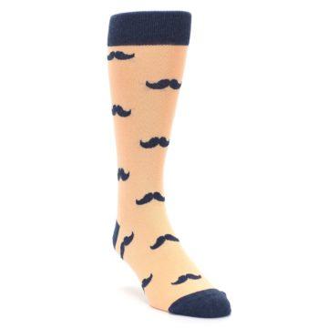 Image of Peach Navy Mustache Groomsmen Wedding Men's Dress Socks (side-1-front-02)