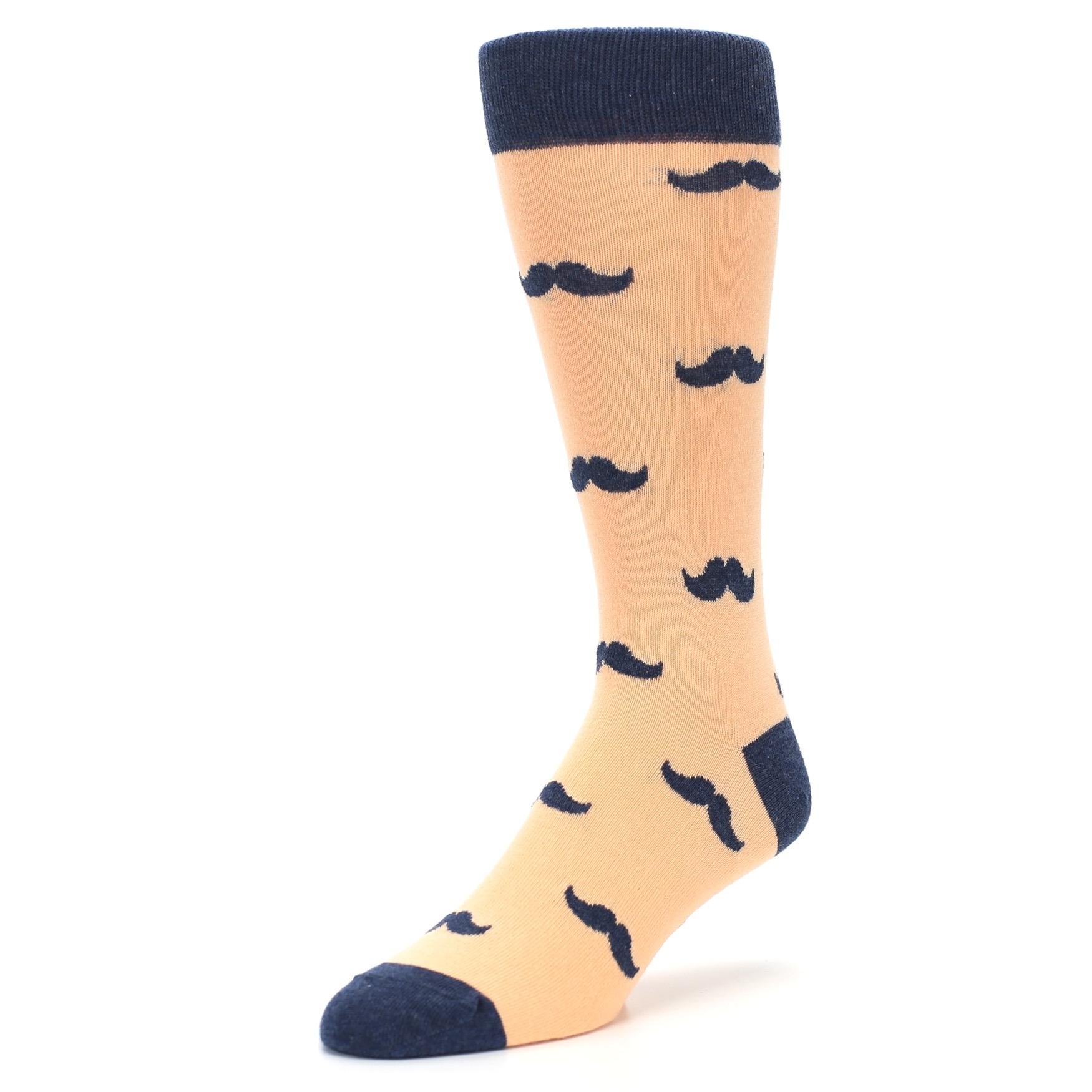 Peach Navy Mustache Groomsmen Wedding Men's Dress Socks