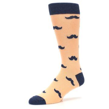 Image of Peach Navy Mustache Groomsmen Wedding Men's Dress Socks (side-2-09)