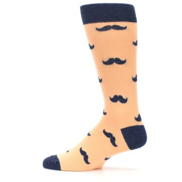 Image of Peach Navy Mustache Groomsmen Wedding Men's Dress Socks (side-2-12)