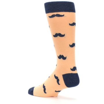 Image of Peach Navy Mustache Groomsmen Wedding Men's Dress Socks (side-2-back-14)