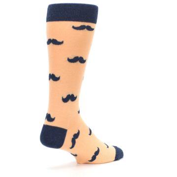 Image of Peach Navy Mustache Groomsmen Wedding Men's Dress Socks (side-1-back-22)