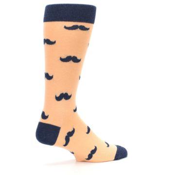 Image of Peach Navy Mustache Groomsmen Wedding Men's Dress Socks (side-1-23)