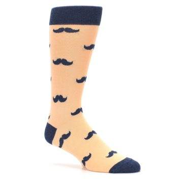 Image of Peach Navy Mustache Groomsmen Wedding Men's Dress Socks (side-1-26)