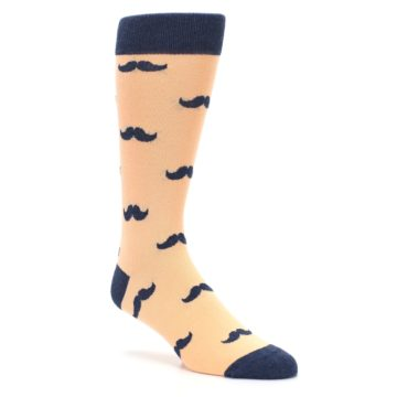 Image of Peach Navy Mustache Groomsmen Wedding Men's Dress Socks (side-1-27)