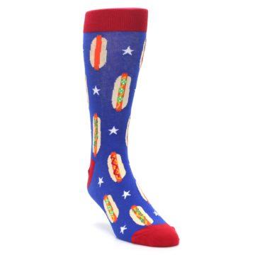 Image of Blue Red Hot Dogs Men's Dress Socks (side-1-front-02)
