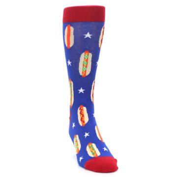 Image of Blue Red Hot Dogs Men's Dress Socks (side-1-front-03)
