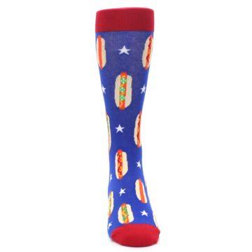 Image of Blue Red Hot Dogs Men's Dress Socks (front-04)