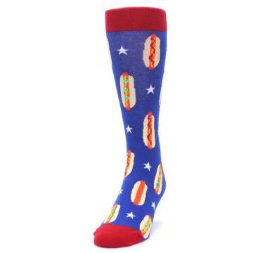 Image of Blue Red Hot Dogs Men's Dress Socks (side-2-front-06)