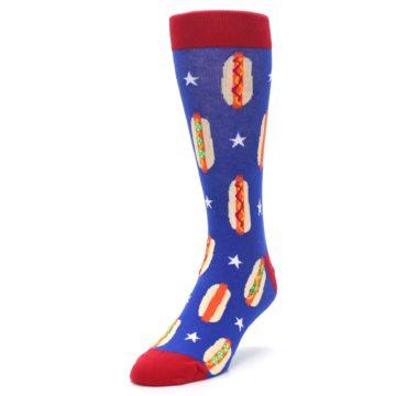 Image of Blue Red Hot Dogs Men's Dress Socks (side-2-front-07)