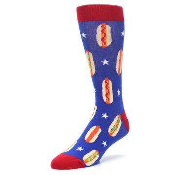 Image of Blue Red Hot Dogs Men's Dress Socks (side-2-front-08)