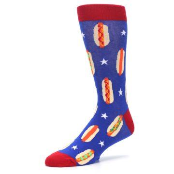 Image of Blue Red Hot Dogs Men's Dress Socks (side-2-09)