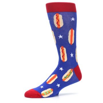 Image of Blue Red Hot Dogs Men's Dress Socks (side-2-10)