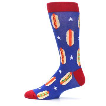 Image of Blue Red Hot Dogs Men's Dress Socks (side-2-12)