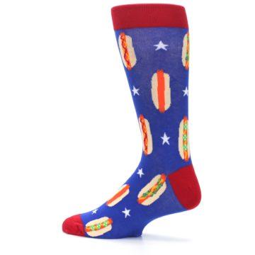 Image of Blue Red Hot Dogs Men's Dress Socks (side-2-13)