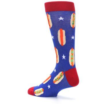 Image of Blue Red Hot Dogs Men's Dress Socks (side-2-back-14)