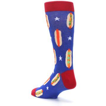 Image of Blue Red Hot Dogs Men's Dress Socks (side-2-back-15)
