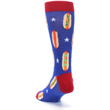 Image of Blue Red Hot Dogs Men's Dress Socks (side-2-back-16)