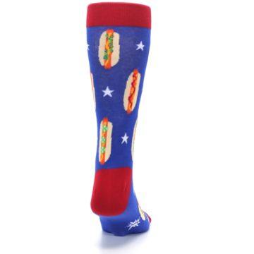 Image of Blue Red Hot Dogs Men's Dress Socks (back-19)