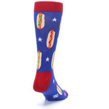 Image of Blue Red Hot Dogs Men's Dress Socks (side-1-back-20)