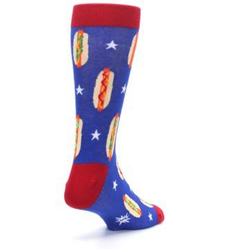 Image of Blue Red Hot Dogs Men's Dress Socks (side-1-back-21)