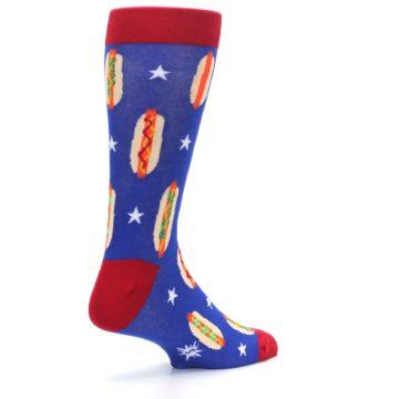Image of Blue Red Hot Dogs Men's Dress Socks (side-1-back-22)