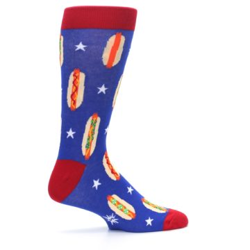 Image of Blue Red Hot Dogs Men's Dress Socks (side-1-24)