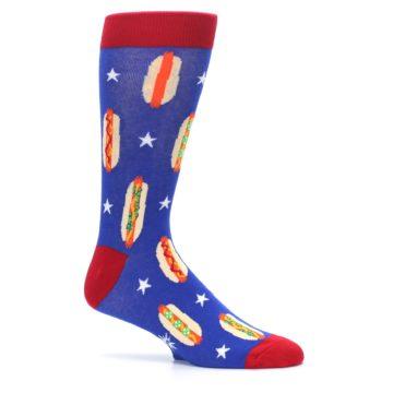 Image of Blue Red Hot Dogs Men's Dress Socks (side-1-25)