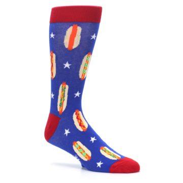 Image of Blue Red Hot Dogs Men's Dress Socks (side-1-26)
