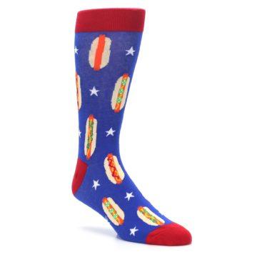 Image of Blue Red Hot Dogs Men's Dress Socks (side-1-27)
