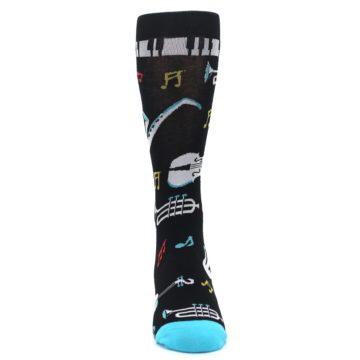 Image of Black Teal Music Instruments Men's Dress Socks (front-04)