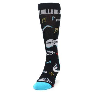 Image of Black Teal Music Instruments Men's Dress Socks (side-2-front-06)