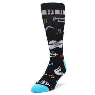 Image of Black Teal Music Instruments Men's Dress Socks (side-2-front-07)