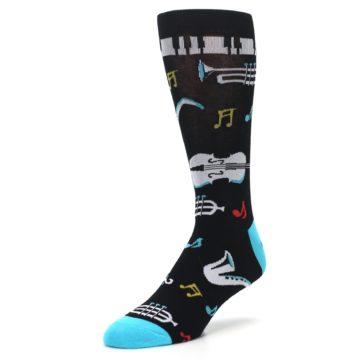 Image of Black Teal Music Instruments Men's Dress Socks (side-2-front-08)