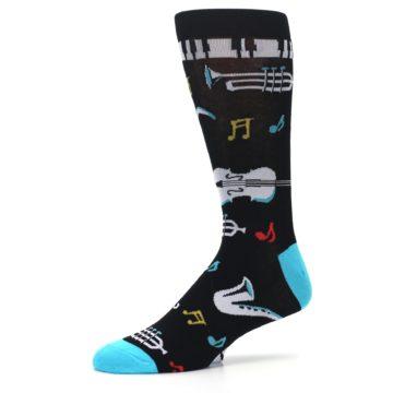 Image of Black Teal Music Instruments Men's Dress Socks (side-2-10)