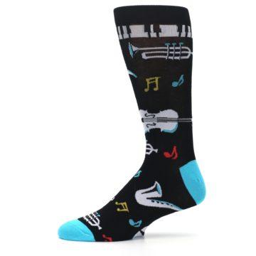 Image of Black Teal Music Instruments Men's Dress Socks (side-2-11)