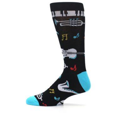 Image of Black Teal Music Instruments Men's Dress Socks (side-2-12)