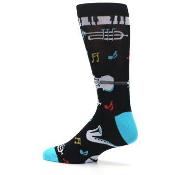 Image of Black Teal Music Instruments Men's Dress Socks (side-2-13)