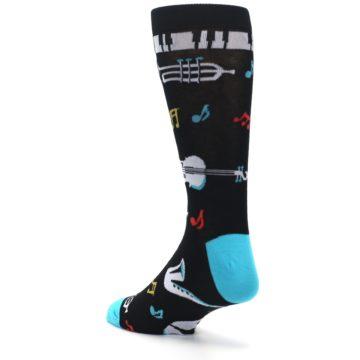 Image of Black Teal Music Instruments Men's Dress Socks (side-2-back-15)